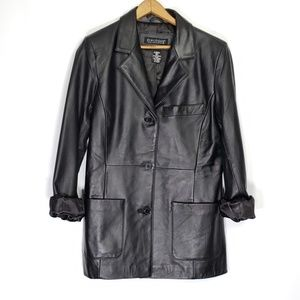 Dialogue Genuine Black Leather Blazer Jacket